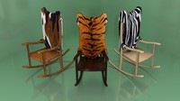 3d model rocking chair animal skin