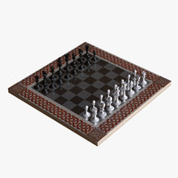 3d ornamental chess set model