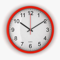 3d red office clock