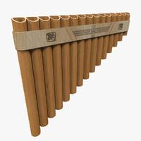 3d model realistic flute pan
