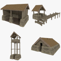 Viking buildings pack textured