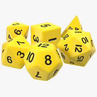 3d model polyhedral dice set yellow
