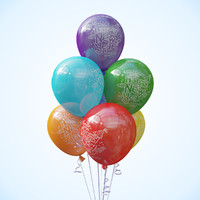 3d model of seven balloons helium