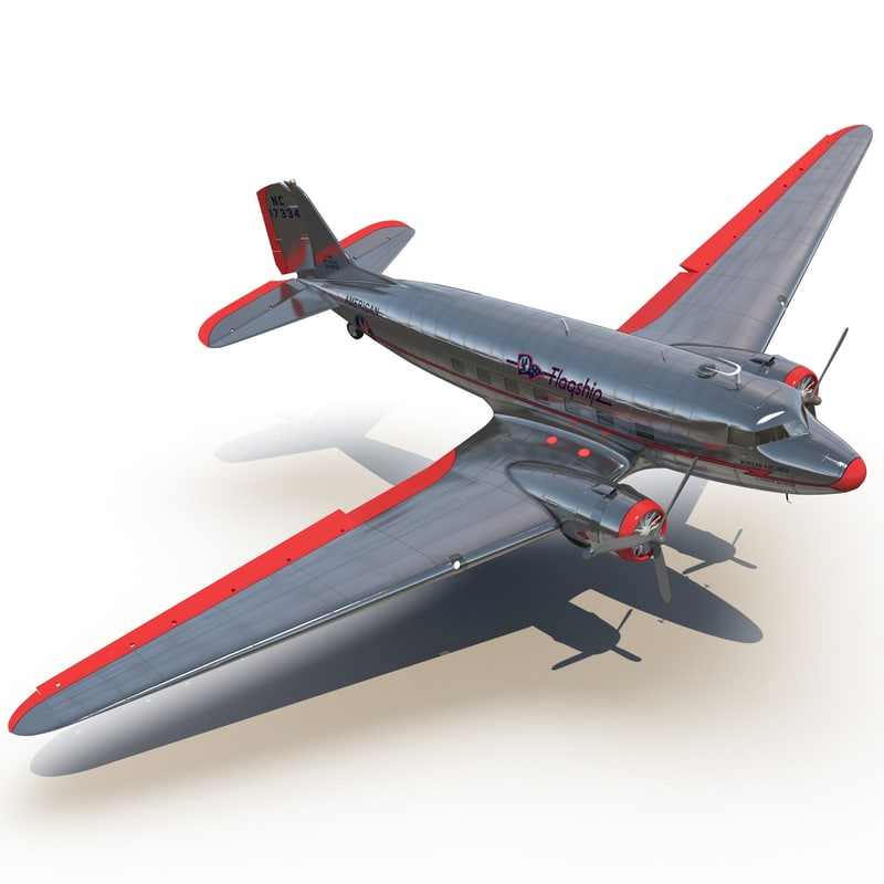 Douglas DC 3 American Airlines Rigged 3d model 01.jpg