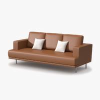 maya triple sofa tan leather