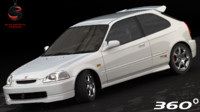 honda civic type-r 1997 3d model