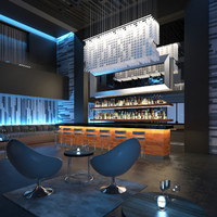 3d scene contemporary lounge bar model
