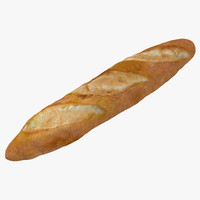baguette modeled realistic 3d model
