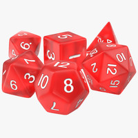 maya polyhedral dice set red