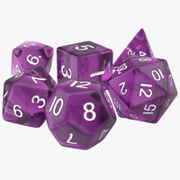 polyhedral dice set violet 3d model
