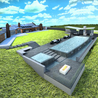 3d house spa pool model