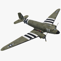 3d model douglas dc 3 rigged