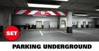 scene underground parking 3d model