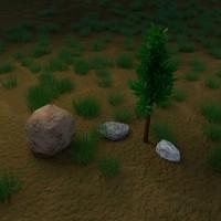 3d model tree rocks -