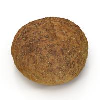 3d model brown bread roll