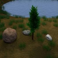 3d tree pond rocks - model