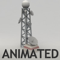 radar tower animation 3d model