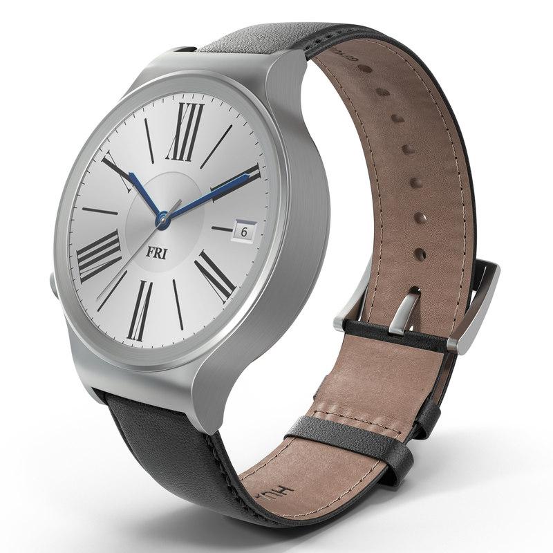 Huawei Watch 3 Leather Band 3d model 01.jpg