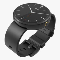 3d model smartwatch moto 360 black leather