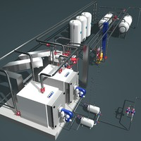 industrial boiler room 3d model