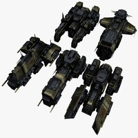5 civilian transport spaceships 3d max