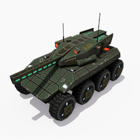 3d model of sci-fi weel tank bear