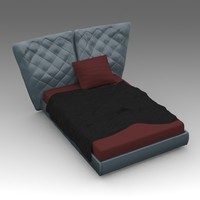 leather bed 3d x