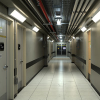 3d photorealistic industrial hallway