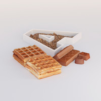 3d model photorealistic wafer chocolate