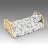 wooden bed 3d x