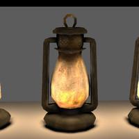 3d old steel lantern model