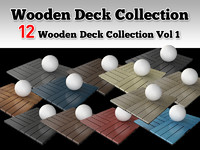 3d model of 12 wooden deck collections