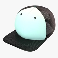 black white baseball cap 3d model