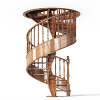 wooden stair wood 3d model