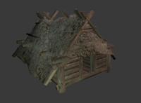 enterable wooden hut 3d blend