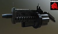 sci-fi rifle 3d obj