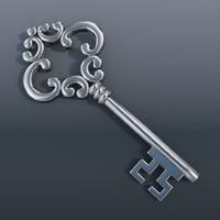 3d realistic silver key