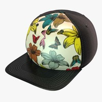 3d model retro flower butterfly baseball cap