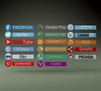 3d model 17 social icons hd