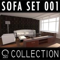 3d model sofa set 001