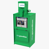 classic newspaper box green 3d model
