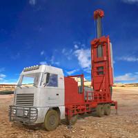 water drilling rig truck 3d obj