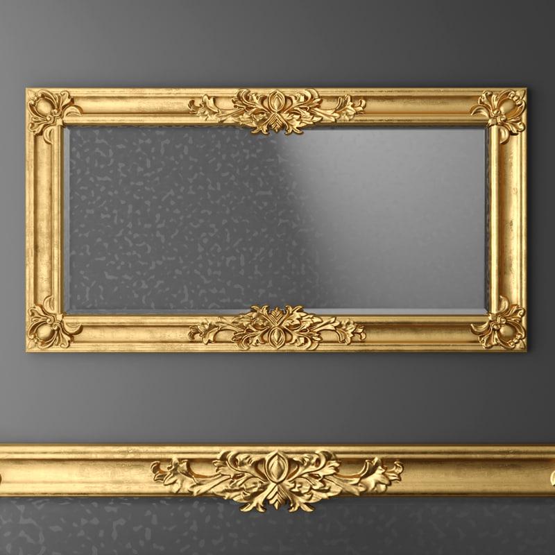 3d baroque frame mirror model for Mirror 3d model