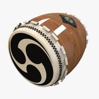 3d taiko japan drum