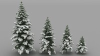 3d snowy fir trees