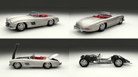 blend mercedes 300sl roadster modeled