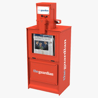 3d classic newspaper box red