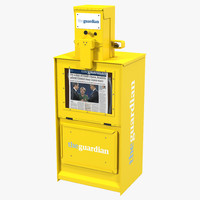 3d classic newspaper box yellow model