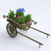 3d ornamental wooden cart