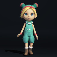 cartoon little girl 3d obj